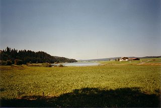 Lac des Taillères lake in Canton of Neuchâtel, Switzerland