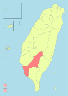 Kaohsiung City shown within the Taiwan islands