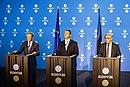 Tallinn Digital Summit. Press conference Donald Tusk, Jüri Ratas and Jean-Claude Juncker (36722577203).jpg