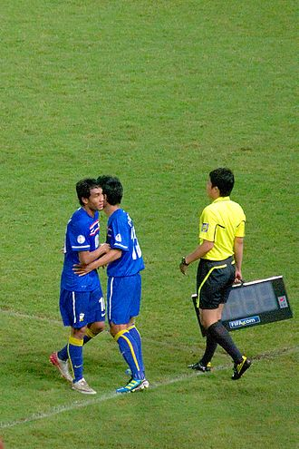 Teerasil Dangda - Teerasil Dangda (left) was replaced by Chatree Chimtalay during Thailand's World Cup 2014 third round qualifying match