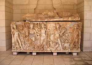 Turmus Ayya - Roman sarcophagus, 3rd century, discovered at Turmus Ayya, now at Rockefeller Museum, Jerusalem
