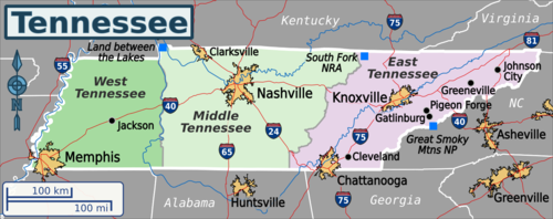 Map Showing Tennessee S Natural Resources