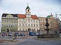 Teplice, náměstí Svobody, kašna a radnice.jpg