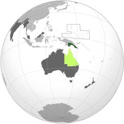 Зеленый: территория Папуа Светло-зеленый: Квинсленд (присоединенный Папуа в 1883 г.) Темно-серый: другие британские владения