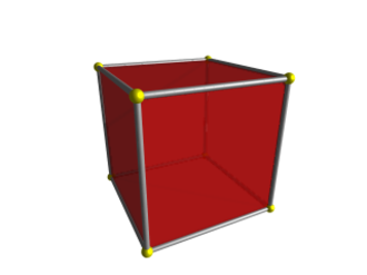 Four-dimensional space - Image: Tesseract perspective cell first