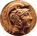 Tetradrachm of Athens, 126-125 BC, head of Fidias sculpture Athena Parthenos.JPG