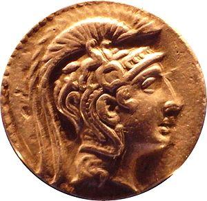 Athena Parthenos - Tetradrachm of Athens, 126-125 BC, real head of sculpture Athena Parthenos by Phidias