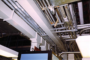 Electrical conduit - Electrical conduit and bus duct in a building at Texaco Nanticoke refinery in