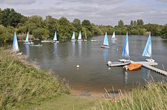 The Thames Young Mariners Base Lagoon in use by a school group.