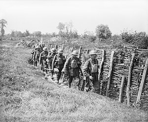 Irish Guards - The Irish Guards going up a communication trench. Elverdinghe, 30 July 1917.