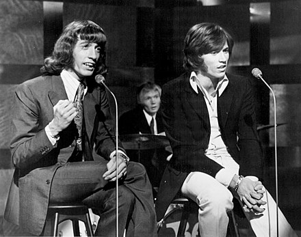 The Bee Gees performing at The Tom Jones Show in early 1969, one of the last performances with Robin as he left the group later in March The Bee Gees - This is Tom Jones, Season 1, Episode 3 (1969).jpg