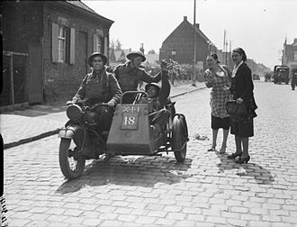 Norton Motorcycle Company - A British Army Norton and sidecar in Belgium, May 1940
