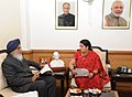 The Chief Minister of Punjab, Shri Prakash Singh Badal calling on the Union Minister for Human Resource Development, Smt. Smriti Irani, in New Delhi on February 12, 2015.jpg
