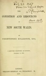 Christopher Rolleston: The Condition and Resources of New South Wales