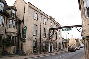 George Hotel, Stamford - The George Hotel with its gallows sign over the road