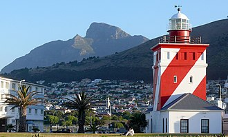Mouille Point - The Green Point Lighthouse with Devil's Peak as a backdrop