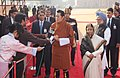 The King of Bhutan, HM Jigme Khesar Namgyel Wangchuck alongwith the President, Smt. Pratibha Devisingh Patil and the Prime Minister, Dr. Manmohan Singh interacting with the media, during the ceremonial reception.jpg