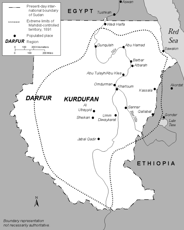 The Mahdist State, 1881-98, modern Sudan.png