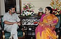The Minister of State (Independent Charge) for Environment and Forests, Smt. Jayanthi Natarajan meeting the Union Minister for Commerce & Industry and Textiles, Shri Anand Sharma, in New Delhi on July 20, 2011.jpg