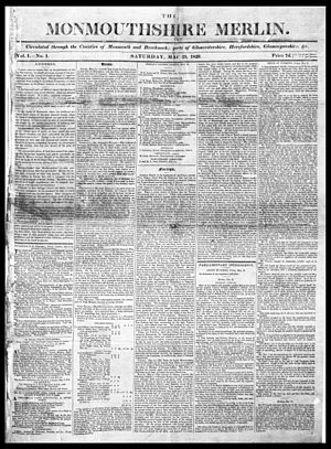 Monmouthshire Beacon - Front page of the earliest surviving copy of the Welsh newspaper The Monmouthshire Merlin; 23 May 1829