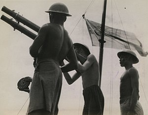 Kenya in World War II - Kenyan sailors aboard a British Royal Navy minesweeper, 1945.