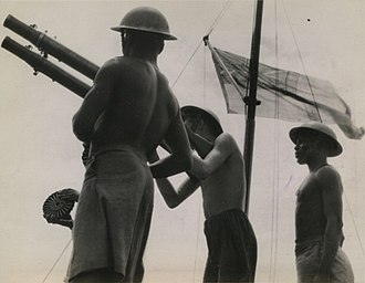 Kenya in World War II - Kenyan sailors aboard a Royal Navy minesweeper, 1945