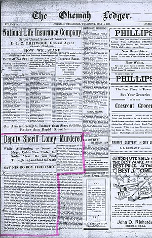 Lynching of Laura and L. D. Nelson - Front page of The Okemah Ledger, May 4, 1911.