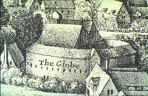 Lord Chamberlain's Men - Print, based on Hollar's 1644 Long View of London, of the 1614 second Globe Theatre.