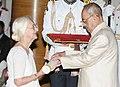 The President, Shri Pranab Mukherjee presenting the Padma Shri Award to Smt. Madeleine Herman de Blic, at a Civil Investiture Ceremony, at Rashtrapati Bhavan, in New Delhi on April 12, 2016.jpg