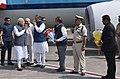 The Prime Minister, Shri Narendra Modi being received by the Governor of Chhattisgarh, Shri Balramji Das Tandon and the Chief Minister of Chhattisgarh, Dr. Raman Singh, on his arrival, at Raipur, Chhattisgarh (1).jpg