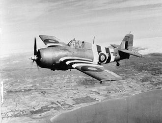 """Grumman F4F Wildcat - A Fleet Air Arm Wildcat in 1944, showing """"invasion stripes"""""""