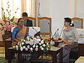 The Speaker, Lok Sabha, Smt. Meira Kumar meeting Daw Aung Suu Kyi, in Naypyitaw, Myanmar on February 13, 2013.jpg