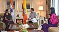 The Union Minister for Defence, Smt. Nirmala Sitharaman meeting the King of Bhutan, His Majesty Jigme Khesar Namgyel Wangchuck, in New Delhi on November 02, 2017.jpg