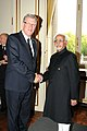 The Vice President, Shri Mohd. Hamid Ansari with the President of Latvia, Mr. Valdis Zatlers, at a bilateral meeting on the sidelines of eighth Asia-Europe Meeting (ASEM- 8), at Brussels, Belgium on October 04, 2010.jpg