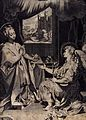 The Virgin sets aside her Bible as the angel appears, holdin Wellcome V0034576.jpg