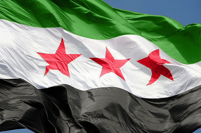 From commons.wikimedia.org: The flag of Syrian Arab Republic Damascus. {MID-287977}