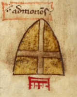 The inverted arms of Jerusalem referring to the death of Godfrey de Bouillon.png