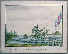 The melancholy loss of HMS Sirius off Norfolk Island March 19th 1790 - George Raper.jpg
