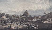 Uferpredigt bei Vitt. (Aquarell von Theodor Schwarz) (Quelle: Wikimedia)