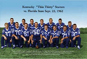 1962 Kentucky Wildcats football team - University of Kentucky Thin Thirty team starting line September 22, 1962.
