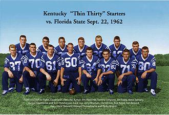 1962 Kentucky Wildcats football team - University of Kentucky Thin Thirty team starting line September 22, 1962.