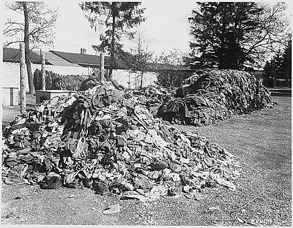 This pile of clothes belonged to prisoners of the Dachau concentration camp