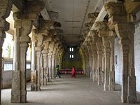 Corridor inside the temple showing a pillared hall