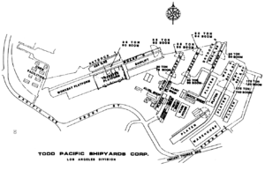 Todd Pacific Shipyards, Los Angeles Division - A diagram of the shipyard near its post war peak in 1983.
