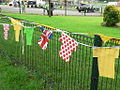 Tour de France bunting on a fence, Pool in Wharfedale - geograph.org.uk - 4059342.jpg