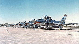 110th Bomb Squadron - Republic F-84F-30-RE Thunderstreak of the 110th Tactical Fighter Squadron, 131st Tactical Fighter Wing - 1961/62. Serial 52-6368 is in foreground.