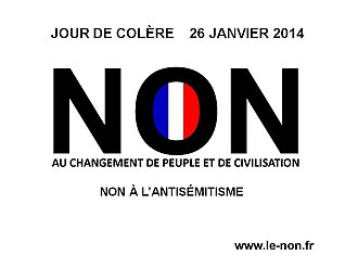 """Renaud Camus - Camus' tract for his 2014 """"day of anger"""" manifestation against the """"great replacement"""": """"No to the change of people and of civilization and no to antisemitism"""""""