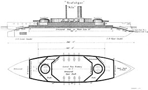 Trafalgar-class ironclad - Starboard elevation and deck plan, according to Brassey's annual 1888–9, showing the original planned secondary armament of eight 5-inch guns