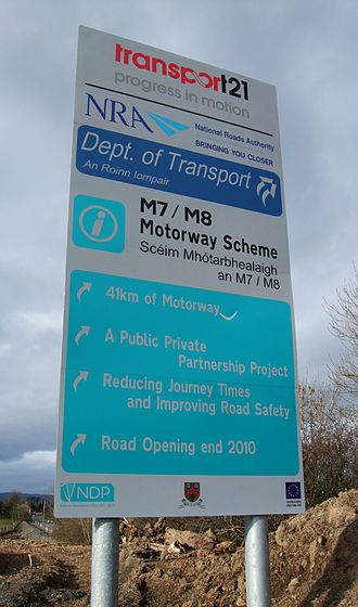 Motorways in the Republic of Ireland - Transport 21 signage at the M7/M8 PPP scheme near Borris-in-Ossory.