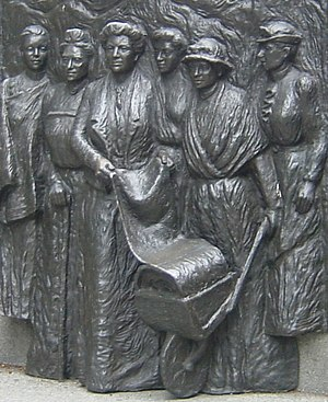 Women's suffrage in New Zealand - Tribute to the Suffragettes sculpture at the Kate Sheppard National Memorial, Christchurch. The figures shown from left to right are Meri Te Tai Mangakāhia, Amey Daldy, Kate Sheppard, Ada Wells, Harriet Morison, and Helen Nicol.